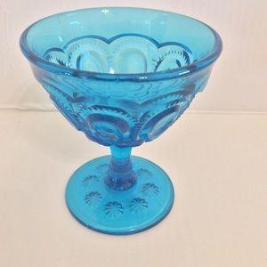 Vintage Blue Glass Moon & Stars Goblet